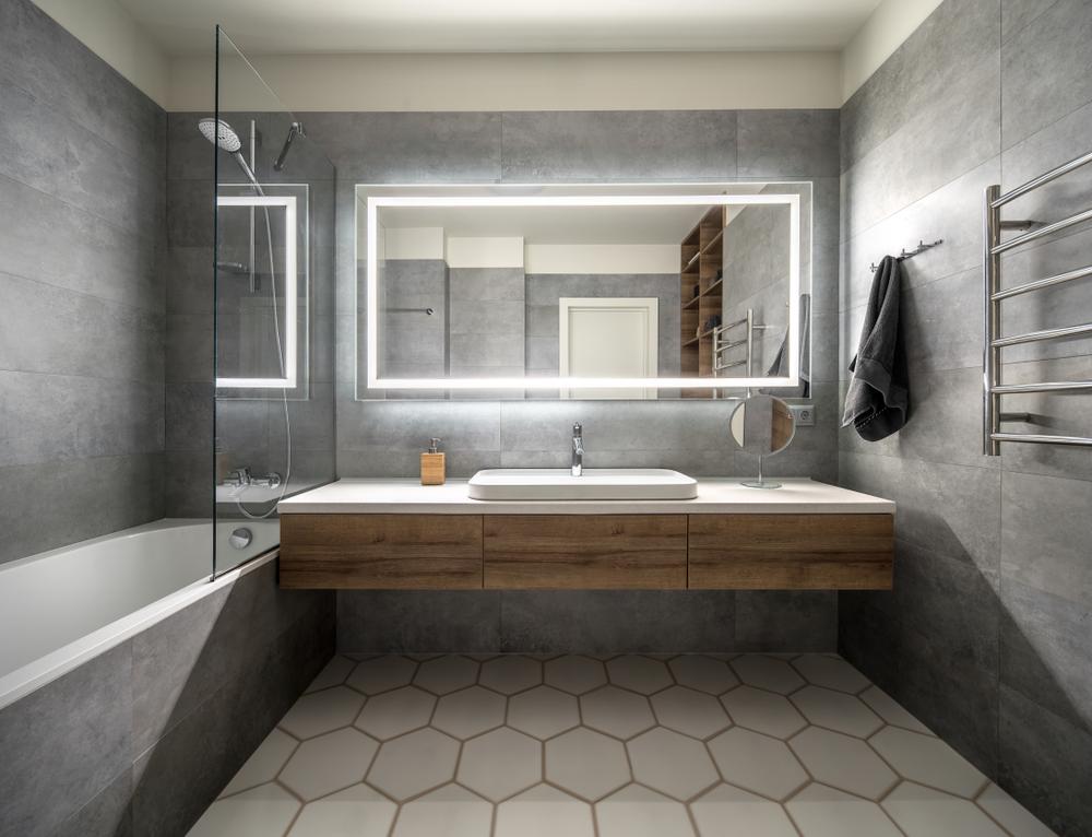ตัวอย่างการใช้ วัสดุปูพิ้น ประเภทกระเบื้องแผ่นเล็กสำหรับปูพื้นห้องน้ำ