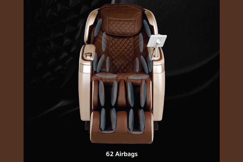 ระบบถุงลมจำนวน 62 ถุงที่อยู่ภายในเก้าอี้นวดไฟฟ้า 4D